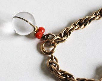 12 KT Gold Filled Bracelet with Crystal and Coral Charm