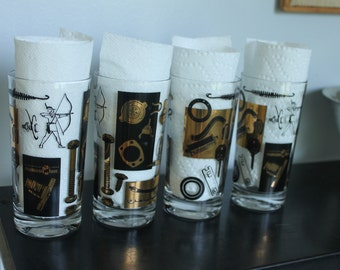 RARE Vintage Industrial Automotive, Steam Punk, Barware,4 Cooler Glasses set, Beverage Set, Mid Century Black and Gold, Atomic