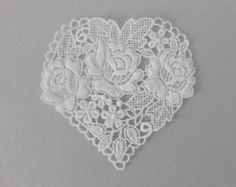 White Lace Heart 7 cm for your creations