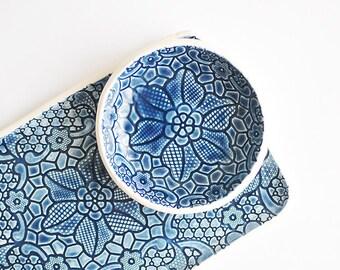 deep blue lace ceramic tray - BLUE CERAMIC PLATE for appetizers antipasti bruschetta cheese sandwiches