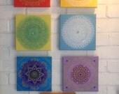 Set of 7 individual chakra mandala paintings each one unique yoga ohm meditation