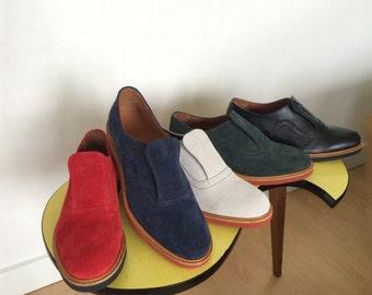 45   SHU-LOK PENAHAUS Repro Rockabilly Suede Shoes 50's, Size  45