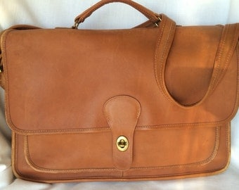 Vintage COACH NYC Briefcase Laptop Bag in British Tan Leather