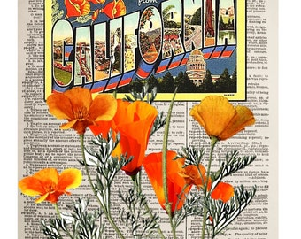 California Vintage Post Card Print, California Poppy Art Print, A 8x10 Vintage Dictionary Page Art Print, Mixed Media Vintage Post Card