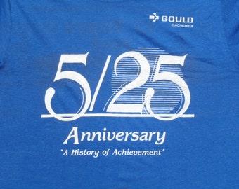 Vintage 1980s Blue Gould Electronics T-Shirt S/M Screen Stars 50 50 Cotton Poly Blend
