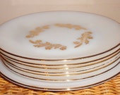 7 RARE Federal Glass MEADOW GOLD White Milk Glass Wheat Plates gold design trim 1950s kitchen