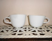 2 Vintage Pyrex corning coffee cappuccino cups 1970s Winter Frost White Microwave Cafe kitchen cup Free Shipping