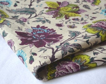 Colourful flowers linen fabric 19,68 x 59 inch, retro style linen