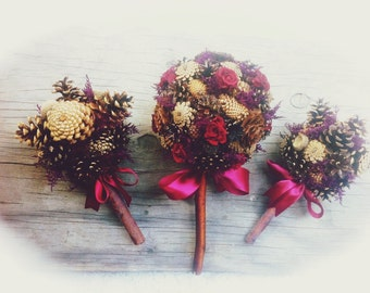 Rustic Bridesmaid Pine Cone Bouquet Country Fall Winter Weddings Flowers Alternative Bridesmaids Bouquets