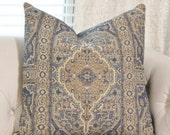 Bohemian Pillow Cover - Faded Muted Blue,Tan, Yellow & Gray Persian Medallion Throw Pillow - Moroccan Pillow -Geometric Pillow Cover