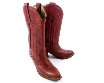 Vintage 70s Frye Rusty Reddish Brown Country Western Cowboy Boots 6 B