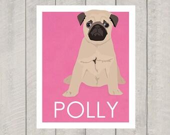 Pug Art Print - Custom Dog Art