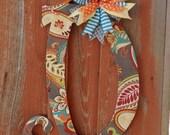 Wooden Monogram Wood Letter Door Hanger Home Decor Alphabet Letter Paisley Door Hanger Birthday Gift Wall Decor Front Door Hanger