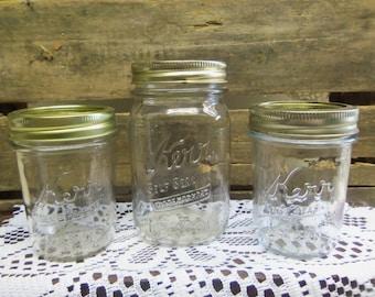 3 Vintage Kerr Self Sealing Mason Jars with Modern Lids and Bands  B532