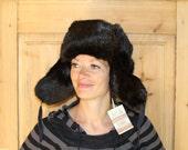 Rabbit Fur Hat Ear Flaps Unused Super Warm Soviet Vintage Unisex Hat Black Ushanka, Winter Fashion, NOS new old stock