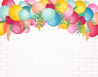 Vinyl Photography  Backdrop Photo Prop - Balloons and Brick