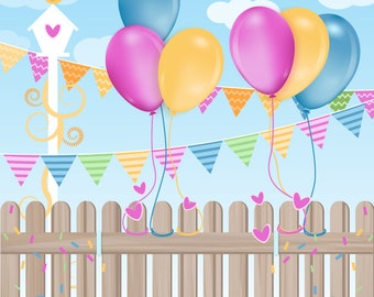 Vinyl Photography  Backdrop Photo Prop - Celebration Fence
