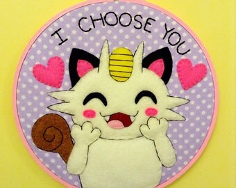 Pokemon Meowth Embroidery Hoop 7 inches