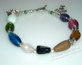Psalms 23 Bracelet, glass beads, silver charms & toggle clasp