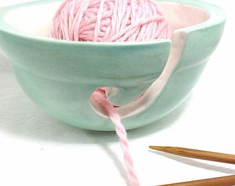 Mint Green and White Pastel Porcelain Yarn Bowl Perfect Yarn Keeper Chic   MADE TO ORDER