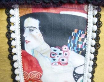 "Cushion deco rectangular Klimt, upholstery, PomPoms and transfer ""Judith II"""