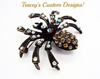 Stunning HALLOWEEN SPIDER SWAROVSKI Elements Brooch