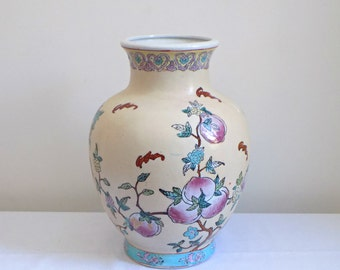 Porcelain Hand Painted Chinese Vase - Enameled Bats Peaches Longevity Famille  - Chinoiserie Asian Oriental Pottery Home Decor Calligraphy
