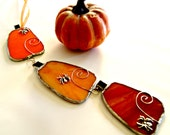 Halloween decor stained glass pumpkin trio october trends fall decor jack-o-lantern
