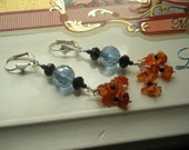 ORANGE CARNELIAN, BLACK  Onyx, Black and Blue crystals and Sterling Silver Lever backs