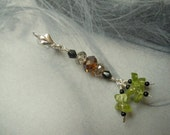 PERIDOT, Black Onyx and crystals with Sterling Silver. Hand made Earrings.