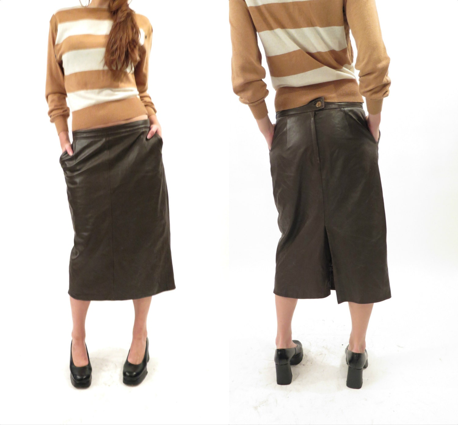 vintage brown leather skirt size 44