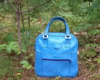 1960's Mod Cornflower Blue Vinyl Weekender Carry On Bag Travel Bag Vegan