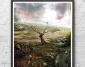 This Spectred Isle - by D McConochie / English Countryside Landscape Print / Collage Wall Art /Crow on Solitary Tree / Moody Landscape