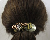 Music French Barrette- 80mm- Musician Gift- G Clef- Music paper- Music Note- Hair Clips