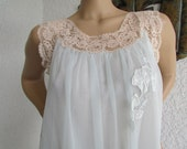 SALE size Medium vintage early 60s SEAMPRUFE NIGHTGOWN pale blue chiffon and ecru lace