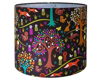 Custom Lamp Shade - Forest Lampshades - Foxtrot in Jewel by Michael Miller from the Norwegian Woods Too Collection - Nursery Lamp Shades