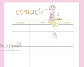 Filofax Contacts insert Address sheet printable instant download for your diary size A5