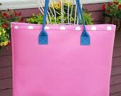 Bright Pink Leather Tote lined in Polka Dots