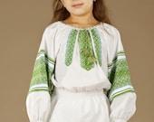 Ukrainian embroidered Children's blouse. Ethnic sorochka. Girls blouses, vyshivanka. Beautiful Baby blouse in the Ukrainian style for girls