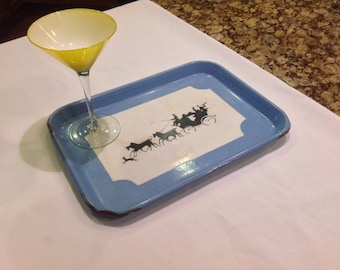 Lovely Shabby Chic type enamel tray ----Blue with Coach and Horses scene in silhouette