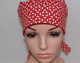 Surgical Scrub Hat, Chemo Hat, Nurses Scrub Hat, Women's Surgical Scrub Hat,Red with Life Savers