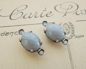 Vintage Opaque Gray Oval 10x8mm Glass Stone Jewel Silver Ox Plated Connector Rhinestone Links - Pair