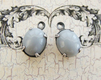 Antiqued Silver Ox Opaque Gray Oval 10x8mm Glass Stone DROPS Vintage Jewel Charms Dangles - Pair