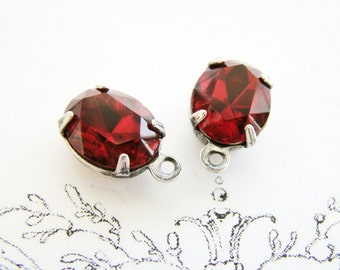 Siam Red Oval 10x8mm Swarovski Rhinestone Silver Ox Plated Setting DROPS Glass Stone Dangles - Pair