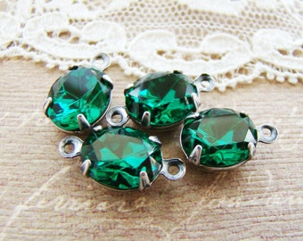 Emerald Green Oval 10x8mm Swarovski Rhinestone Silver Drop or Connector Brass, Matte Black, Antique Silver & Brass Ox Settings - 2