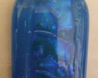 Blue Dichroic Fused Glass Pendant