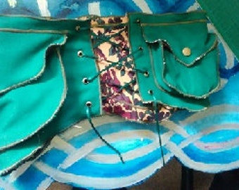 Hippy Utility Belt - Green with floral lining, glow in the dark patterns