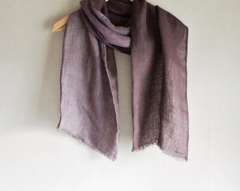 S A L E  Natural (Cochineal / Galls of Japanese sumac) dyed double faced Linen scarf