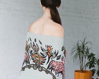 "Printed Silk Scarf  ""Shamanic Birds"""