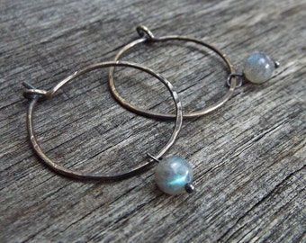 Sterling Silver Forged Hammered Hoop Earrings with Labradorite Drops